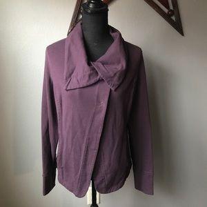 EDDIE BAUER Purple Draped cowl neck sweatshirt